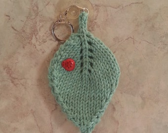 Double Lucky Ladybug Ladybird on a Leaf Keychain Hand Knit Mint Green Cotton