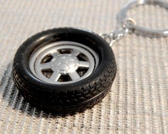 Key chain tyre car tire key ring Silver black metal
