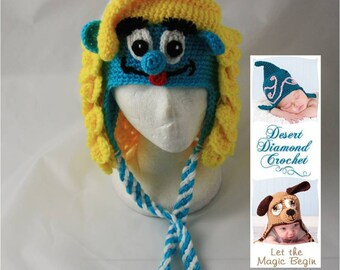 Girl Blue Gnome Hat - Any Size
