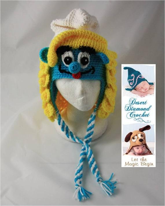 Crochet Pattern 059 - Girl Blue Gnome Beanie Hat - All Sizes