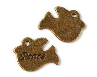 Antique Bronze Peace Doves - 10 per pack (1841)