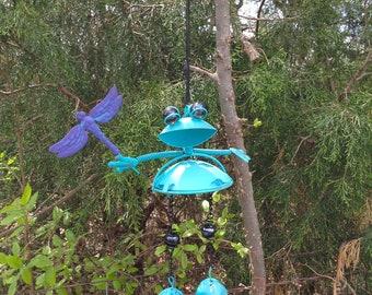 Whimsy Frog Wind Chime / Blue Metal Garden Decor / Metal Yard Art