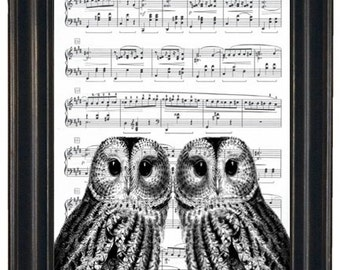 Owl Art Print Owl Decor Sheet Music Print or Dictionary Prints Wall Decor Art Book Page Two Owl Heads on Vintage Dictionary