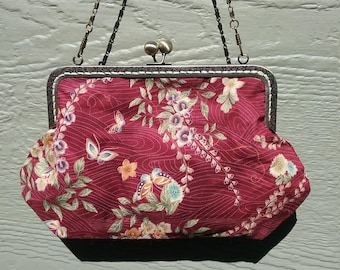 Metal frame purse/ Red purse with butterflies.