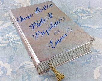 "Jane Austen, Book clutch bag, Literary wedding clutch, Silver bridal clutch, Pride and Prejudice, ""We are all fools in love"""