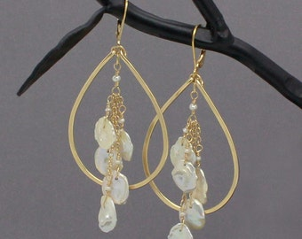 Keshi Pearl Earrings, Teardrop Hoops, Beach Wedding Jewelry, Keshi Pearl Jewelry, Beach Wedding Earrings, Long Keshi Pearl Earring