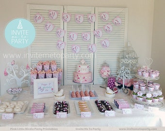 Pink Little Birdie Party Decoration Printables