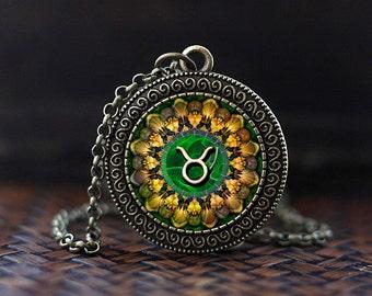 Taurus Zodiac Necklace, Taurus Pendant, Taurus Zodiac Jewelry, Taurus Zodiac Sign, Astrology Necklace,