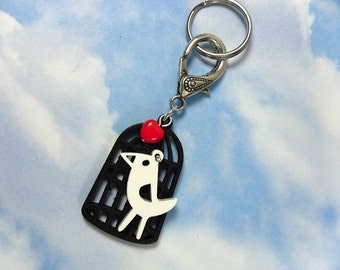 Mod Bird Key Chain - White wooden bird & black birdcage with red heart - on a clasp and keyring -Free Shipping USA
