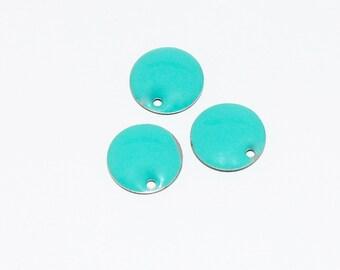 3 x sequin turquoise enamel
