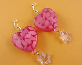 Big Pink Heart Earrings - chunky lucite beads, candy pink hearts, Fairy-Kei Fairy Kei, Sweet Lolita, retro kitsch cute, Valentine's Day
