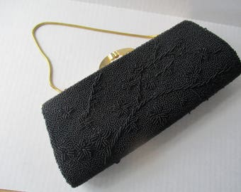 Vintage Black Beaded Holiday Purse Clutch