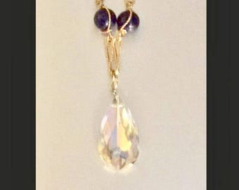 SALE Vintage Gold Chain with Lapis Beads and a Large Swarovski  Clear Crystal Pendant