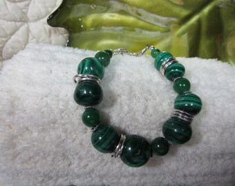 Chunky Green and Silver Bracelet