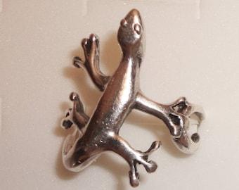 Sterling Silver Gecko Lizard Ring size 10