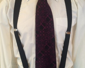 1970s Wide Disco Tie - Black Fuchsia - Geometric - from Sears the Men's Store - Hipster - Casual - Prom - Wedding - Party