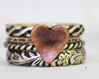 Heart Stacking Rings, Sterling Silver Set, Wedding, Victorian, Boho Rings, Patterned Bands, Heart Ring, Mothers Day