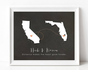 Custom Moving Away Gift Print - Going Away Gift - Long Distance Best Friend Two State Map - Long Distance Relationship - State Silhouette