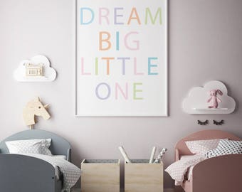 Dream Big Little One, Large Poster Print, 24x36, Nursery Printable, Baby Room Art Poster, Baby Poster, Kids Printable, Playroom Poster, Kids