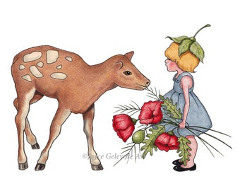 Hand Drawn Clipart, Little Wood Sprite with Flowers, Fawn, Poppies, Commercial Use, INSTANT DOWNLOAD