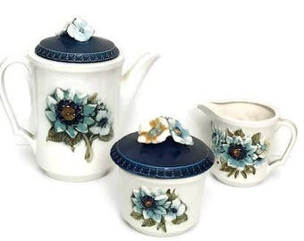 Vintage Floral Tea Set Porcelain  Coffee or Tea pot with Sugar and Milk Containers
