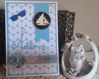 Holiday card Hello blue