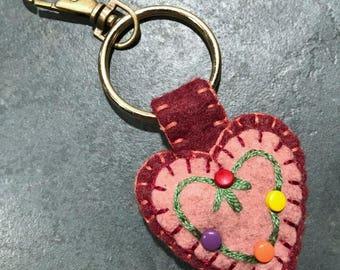 Wool Felt Heart Key Ring Purse Charm Backpack Charm