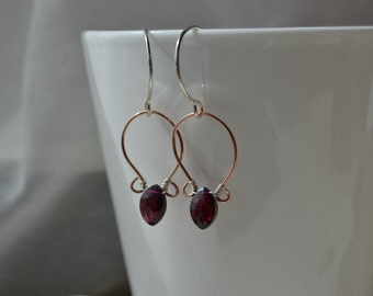 Mixed Metal Rose Gold Filled and Sterling Silver with Garnet  Earrings Handmade