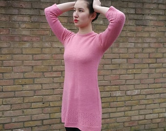 Cute Knitted Bright Pink Dress
