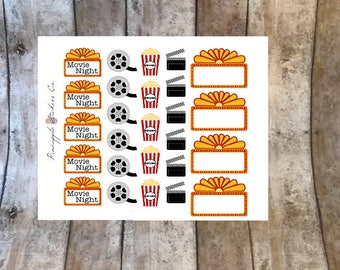 Movie Marquee movie night planner stickers