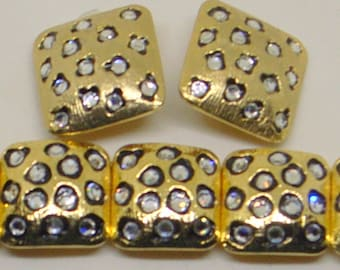 Vintage Leopard Bracelet AND Earrings Set - Black Enamel Spots With Rhinestones - Stunning Classic - Square - Big Clip Earrings