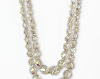 Vintage 1950's Aurora Borealis Clear Rainbow Crystal Beads Two Double Strand Statement Collarbone Box Clasp Necklace 20 Inches