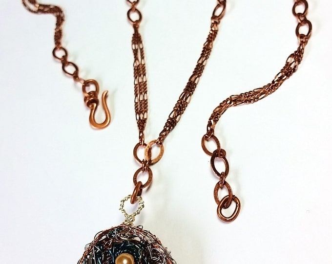Wire Woven Bird Nest with Four Pearl Eggs on Copper Chain - Colorful Woven Wire Nest Pendant With Pearls