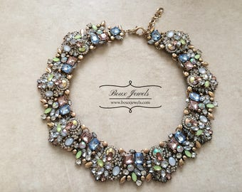 Blue, Mint Green and Pink Colourful Womens Statement Bib Necklace
