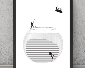 Fishbowl modern print Black and white print Black and white poster A4 print A3 print A4 poster A3 poster Fishbowl wall art Surrealist print