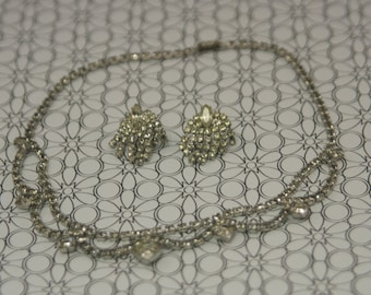 Rhinestone Necklace 15 Inches Multi Stone Stations Complementary Pierced Earrings