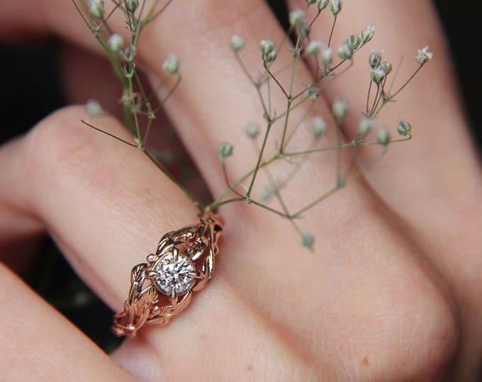 Featured listing image: Rose gold engagement ring, diamond ring, custom engagement ring, leaves ring, branch ring, nature ring, gold ring, unique engagement ring