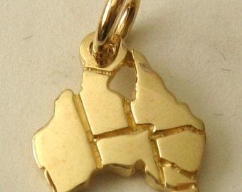 Genuine SOLID 9K 9ct YELLOW GOLD Australian Map charm/pendant