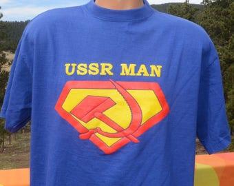 vintage t-shirt 80s USSR man hammer sickle superman history Large XL russia 90s wtf communism