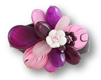 Leather Cuff Bracelet, Ladies' Cuff Bracelet, Pink Purple Jade Cuff, Floral Cuff Bracelet, Women's Wired Cuff, UK Seller, Gemstone Cuff, UK