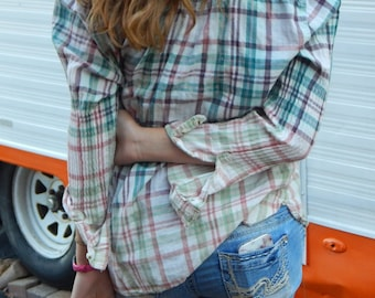 Distressed Sonoma plaid shirt - bleached dipped splattered distressed ombre - Size XL (women's) (S11)