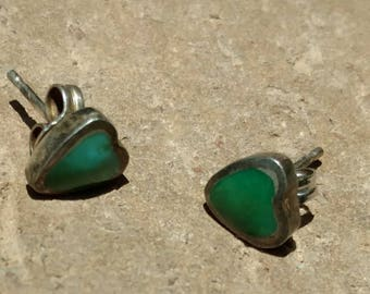 Sterling Turquoise Heart Stud Earrings,Navajo Jewelry, Western  Southwestern, Gifts for Her, Christmas, Pierced Earrings, Green, Winter/fall
