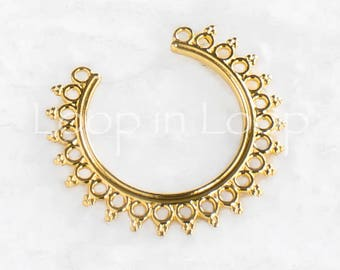 25%OFF Gold Filigree Ethnic tribal Moon Granulated Earring / Pendant charm boho Round 24k gold plated European High Quality casting 1pc