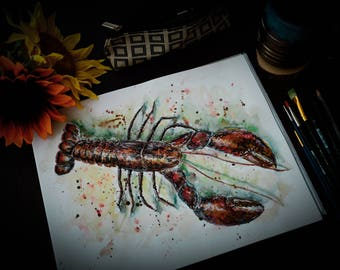 Lobster Watercolor Aquatic Sealife Painting
