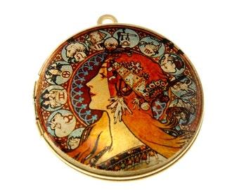 Photo Locket, Image Locket, Art Locket, Picture Locket, Brass Locket - ALFONSE MUCHA Goddess - Zodiac - Art Locket