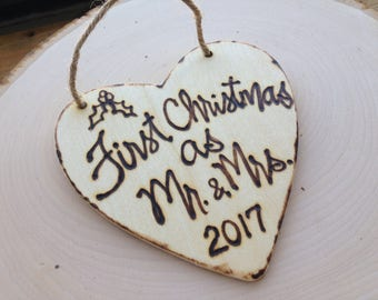 First Married Christmas Ornament as Mr. and Mrs. Rustic Wooden Heart Xmas Custom Wood Christmas Ornament