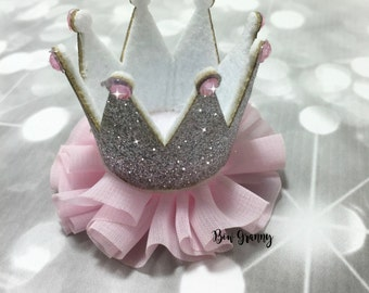 Pink and Silver Glitter Crown Hair Clip, Crown Clippie, Crown Clip, Crown Bow, Princess Crown, Princess Hair Clip, Princess Clip