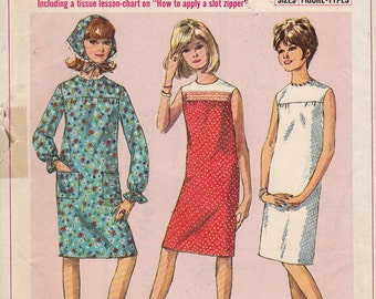 Simplicity 6371, Size 10 S, Dress and Triangle Scarf Pattern, Sub-Teen, Bust 29, Vintage 1965, Retro, Dress,Simple To Sew,How To Sew Pattern