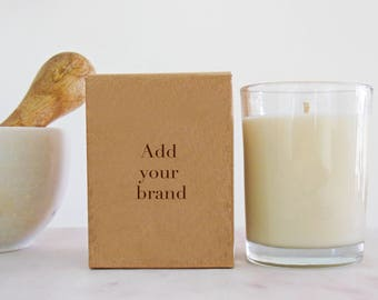 48 bulk candles for private label   white label wholesale natural candles of coconut & soy wax   7 oz   add your logo or customize
