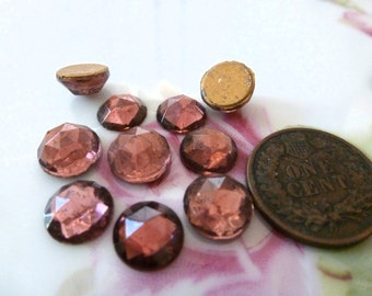 50 Piece Lot Round Glass Stones/Cabs Domed 1940s Amethyst Purple C41